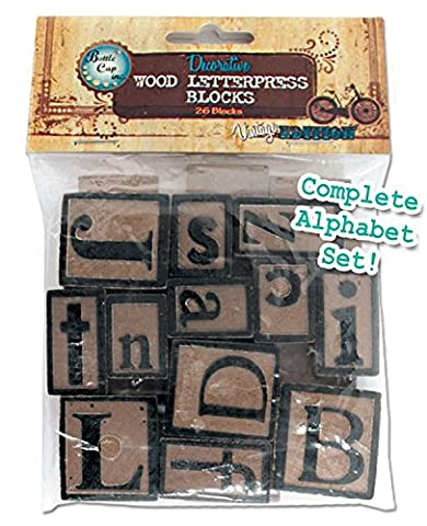 BCI Crafts Récupéré Wood Letterpress blocs 5mm 26/Pkg-alphabet,