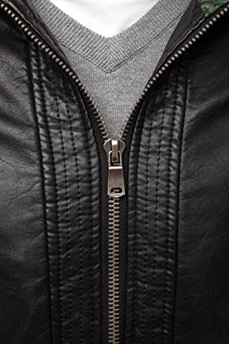 OZONEE Herren Übergangsjacke Jacke Bikerjacke Kunstlederjacke Sweats Winterjacke Sweatjacke Faux Leder Frühlingsjacke J.STYLE MIX Schwarz_Y-TWO-1189