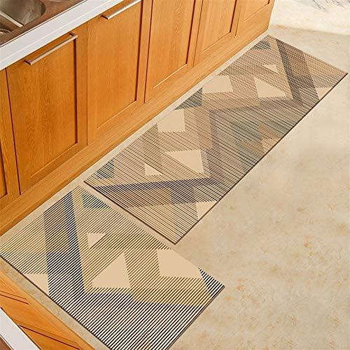FENGLINZEKANG Bad Teppich 2 Stück Moderne Küche Matte Anti-Rutsch-Teppiche for Wohnzimmer (Color : Camel, Größe : 40x60cm and 40x120cm) -