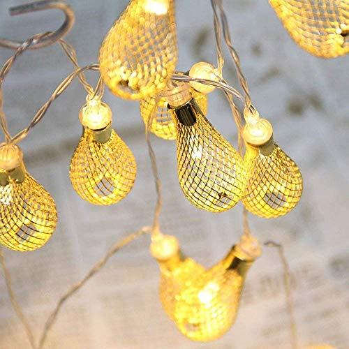 Hoovo luci a stringa geometriche metallo goccia d'acqua 2.2m 20led luci della stringa batteria caricata per la decorazione del partito della casa di natale (bianco caldo)
