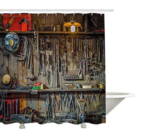 Man Cave Decor Tenda da Doccia con Attrezzi di Yeuss,Vintage Appeso su Una Parete in casetta per Officina Attrezzatura Fissaggio, Poliestere, 180cmx180cm