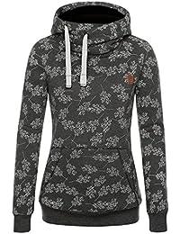 DJT Damen Sweaters Hoodie Sweatshirt Kapuzenpullover Basic Stehkragen