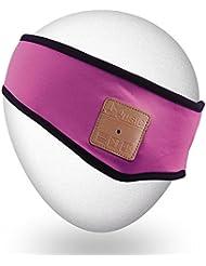 Mydeal Lightweight Bluetooth Bandeau avec Wireless Sleepphone casque casque écouteurs haut-parleurs stéréo Mic pour Gym Fitness exercice Sport en plein air, Compatible avec Iphone Android Téléphones Portables - Rose