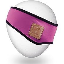 Qshell Trendy Soft Bluetooth Headband con Auriculares Inalámbricos Auriculares Mic Micrófono manos libres para Fitness Ejercicio Running Jogging Paseos Esquí Snowboard, regalo de Navidad - Rosa