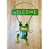 Frosch / Welcome / Dekoschild / Froschfigur / Dekoration / Gartendekofigur / Gartenfrosch / Gartendekoration / Metall