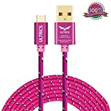 Micro USB Cable ULTRICS® Nylon Braided Charger Cable 10ft / 3M Tangle Free Sync Charge USB Android Charger Lead for Samsung Galaxy, Sony, Nokia, Microsoft, HTC, Motorola, Kindle, Nexus, Huawei, LG, Xiaomi, OPPO - Lifetime Warranty, Money back Guarantee - Hot Pink