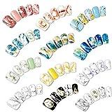 AIUIN 12Teile Buntes Nagellack-Muster Marmor Leitfäden Nageln Tip Aufkleber Set mit Nägel Maniküre Design 1