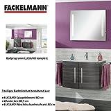 FACKELMANN Badmöbel Set Lugano 3-tlg. 80 cm anthrazit mit Waschtisch Unterschrank & Glasbecken & Spiegelelement