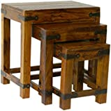 Mercers Furniture Indian Jali Refectory Nest of Tables - Indian Rosewood