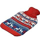 Bouillotte grand format - housse en tricot - rouge/bleu - renne de Noël