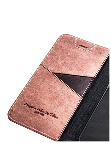 QIOTTI >                Apple iPhone 6 PLUS / 6S PLUS (5,5&quot;)                < incl. PANZERGLAS H9 HD+ Geschenbox Booklet Wallet Case Hülle Premium Tasche aus echtem vegetabil gegerbtes Kalbsleder mit Kartenfächer in ROSA. Edel ver ROSA