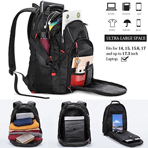 Zaino Porta PC 17.3 Pollici Laptop Impermeabile USB Zaini Notebook Scuola Viaggio Backpack Borsa Uomo Donna Nero ...