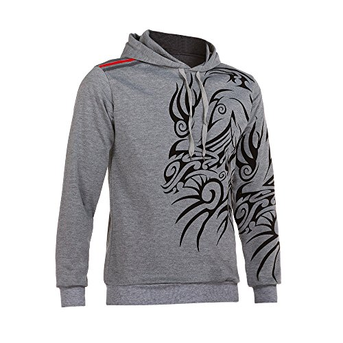 IMJONO Herrenkleidung Men es Autumn Winter Printed Long Sleeve Hooded Sweatshirt Tops Blouse (Medium,Grau)