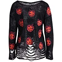 Luckycat Las Mujeres de Moda de Manga Larga con Cuello en V Calabaza Imprimieron la Camiseta Rasgada Superior de la Blusa de Halloween