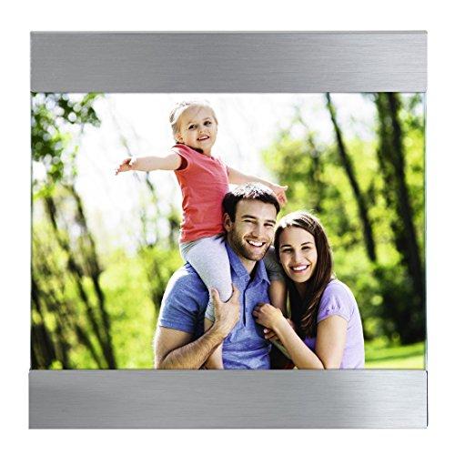 """Hama Portrait Bilderrahmen """"Luzern"""" für Foto-Größe 10 x 15 cm (Fotorahmen aus Metall, matt, zum Aufstellen, Samtrückwand, Echtglas) silber"""