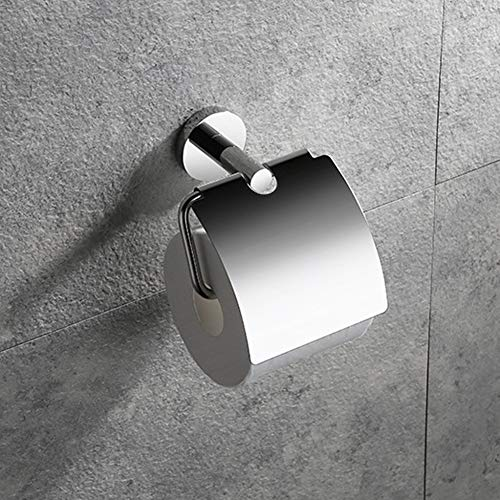 YUSHIDL Toilettenpapierhalter, Edelstahl Rollenhalter for Bad und Küche Spiegel-Licht, Gewebe Storage mit Abdeckung Wasserdicht