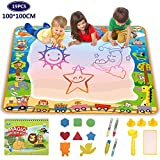 Lenbest super large water drawing mat 100x 100cm, aqua magic painting pad, educational toy gift for toddler, funplus large size doodle mat with seals & magic roller & drawing booklet, writing board
