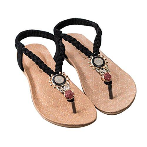 Sfit Damen Sommer Sandalen Böhmen Stil Flach Zehentrenner mit Perlen Dianetten Pantoffel Flip Flop (Stoff Böhmen)