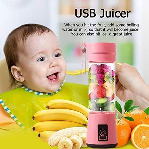 SAB Sellers - Rechargeable USB Mini Juicer Bottle Blender for Juices, Protein/Milk Shakes, Smoothies - Food Grade Plastic Juice Cup with USB Charging Cable (Baby Pink)