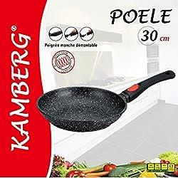 Kamberg - 0008024 - Poêle 30 cm - Manche Amovible - Fonte d'Aluminium - Revêtement type pierre - Tous feux dont induction - Sans PFOA