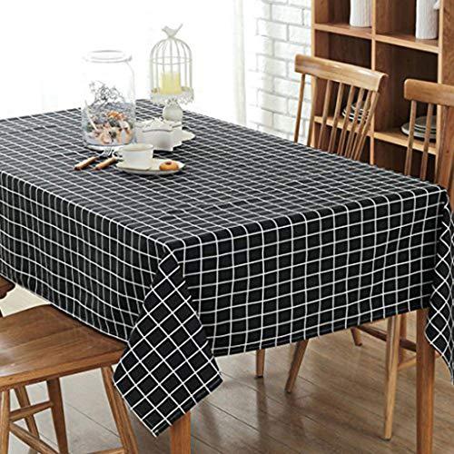 GWELL Leinen Tischdecke Eckig Abwaschbar Tischtuch Pflegeleicht Schmutzabweisend 10 Größe wählbar schwarze Karos 100 * 140cm (Leinen-schwarz Tischdecke)