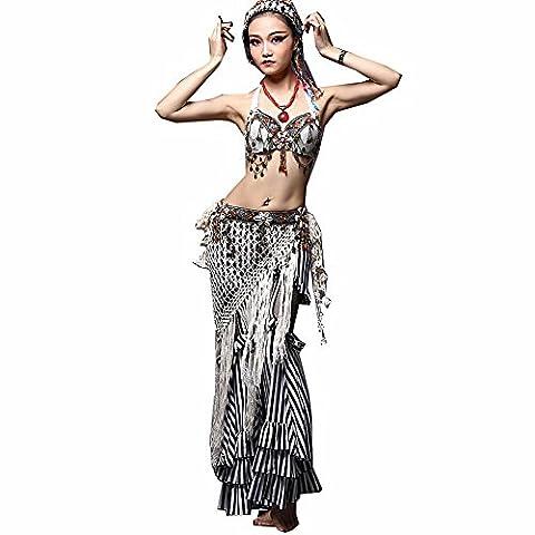 Wgwioo Professionelle Leistung Moderne Frauen Bauchtanz-Outfit Nation Tribal Wind Quaste handgemachte Kostüm Retro , white , (Groß Nation-kostüm Für Erwachsene)
