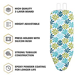 "LEOPAX Heavy Duty Folding Ironing Board Table 18"" X 48"" Thick Supreme Double Foam Ironing Board with Cover & Pad,(Color May Vary)"
