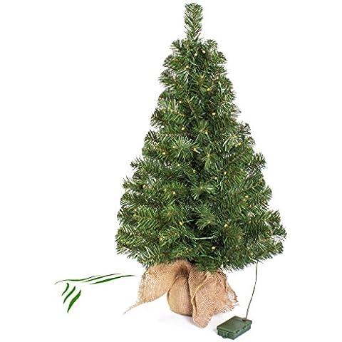Mini albero di Natale VARSAVIA con LED, sacco di iuta,