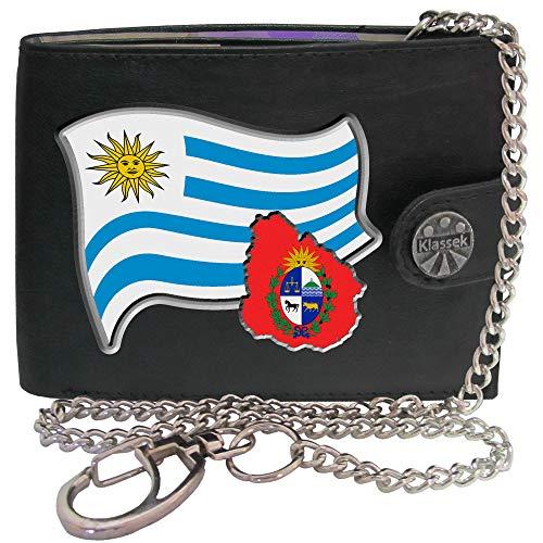 Uruguay Flag Uruguayischen Flagge Karte Wappen Bild auf Herren Kette Geldbörse Portemonnaie KLASSEK Marken Echtes Leder RFID Schutz mit Münzfach Zubehör Geschenk mit Metall Box