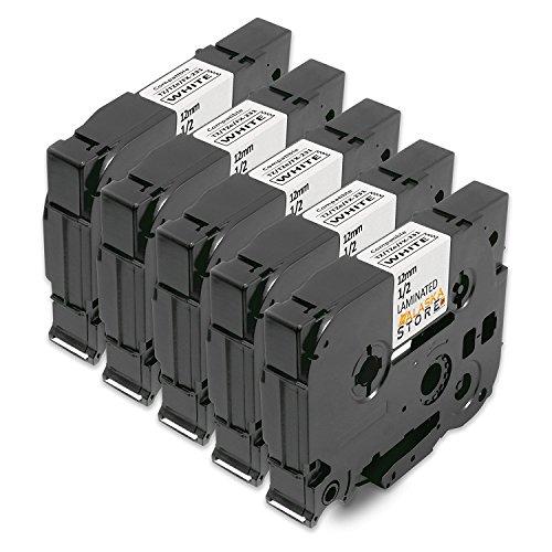 5x Schriftband für Brother TZe-231 12mm schwarz auf weiß 12mm breit x 8m Länge kompatibel zu TZ231 TZ-231 TZE231