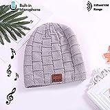 Bluetooth Earphone Beanie Hat, Smartphone Männer Frauen Winter Outdoor Wireless Bluetooth Stereo-Musik Hat, Für iPhone,Gray