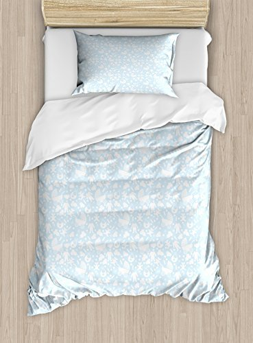 Ambesonne Baby Duvet Cover Set Twin Size, Hearts Background with Teddy Bears Strollers Infant Clothes Newborn Child Theme, Decorative 2 Piece Bedding Set with 1 Pillow Sham, Pale Blue White