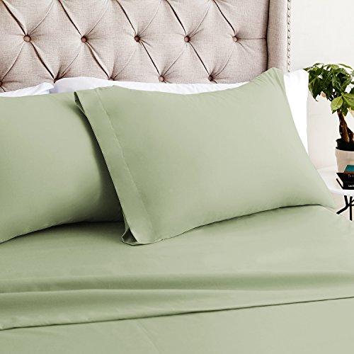 Luxor Bettwäsche Hotelqualität Mirabelle Bambus Komfort 4er Set Tabelle-luxuriösen, umweltfreundlich, knitterfrei-12Farben & 3Größen Erhältlich, Bambus, graugrün, Twin -