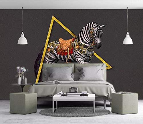 SKTYEE großformatige 3D-Wandbild Tapete europäischen 3D dreidimensionalen Relief Zebra Gold Dreieck Hintergrund Wand @ 350x245_cm_ (137.8_by_96.5_in_) _ - 5 X 8 Zebra