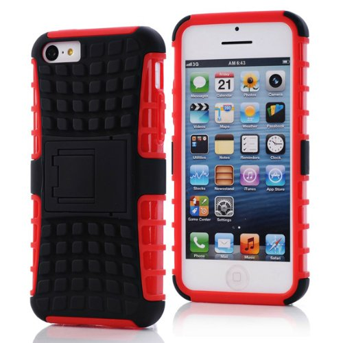 Hybrid Duty Silicone Stand Case Cover Holder pour iPhone 5C blanc