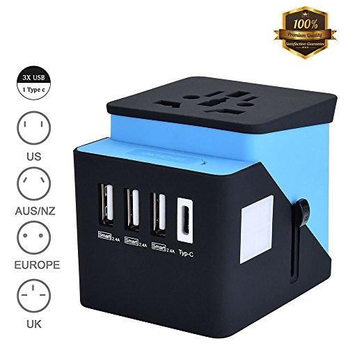 Adaptador Enchufe, Adaptador de Viaje, Type C + 3 USB Adaptador Enchufe Internacional De Viaje Universal para UE/Us/UK/Aus Utilizado en Más de 200 Países con Dos fusibles (Fusible de Repuesto)
