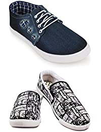 Scantia Casual Canvas Shoes Men's Combo 2 Shoes_Casual Shoes with stylish look New Latest Fashionable Trail Casual Fitness shoes comfortable to Wear with Attractive look shoe for Party or Carry in Daily Life _(Hurry Bumper Valentine Offer on Scantia Collection)