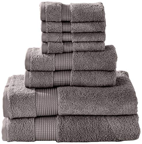 Manor Ridge Turkish Cotton 700 GSM 8 Piece Set, Super Soft, Heavy Weight & Absorbent 2 Bath, 2 Hand Towels and 4 Washcloths, Charcoal - 2 Hand Chr