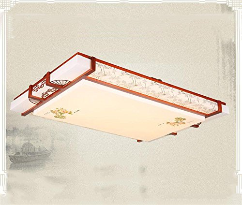Deckenleuchte FUFU Innenbeleuchtung Moderne chinesische LED-Retro Quadrat Holz Schaffell Deckenstrahlern Wohnzimmer Master-Schlafzimmer Raum (80cm-48W) Beleuchtung (Farbe : Promise Tri-Tone Light)