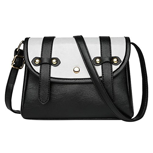 Klappe Schwarz Handtaschen (Akaddy 2018 Modedesign Frauen PU Leder Patchwork Messenger Bags Klappe Mini Schulter Handtaschen / Schwarz)