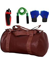 SOOPLE SPORTZ Gym Bag Combo Set Enclosed With Soft Leather Gym Bag For Men And Women For Fitness - Bag Size 49cm... - B07D9LJ5XS