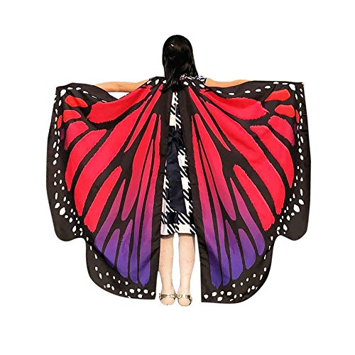 Faschingskostüme Schmetterling Schal Kinder Kostüm Schmetterlingsflügel Pixie Halloween Cosplay Schmetterlingsf Butterfly Wings Flügel LMMVP (Hot Pink Größe: 136 * 108CM)