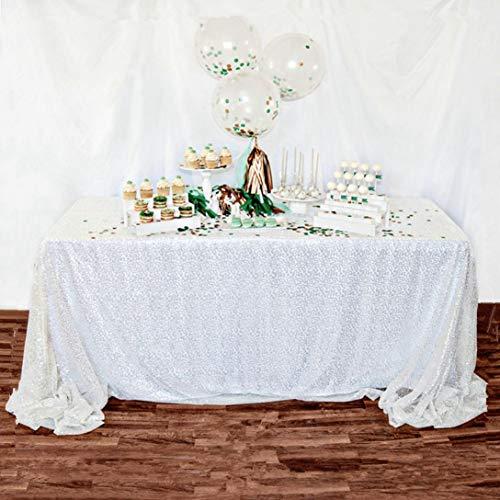 ShinyBeauty Nappe à Paillettes Blanche 229 x 284 cm élégante Nappe Blanche à Paillettes C0305T