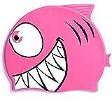 Hochwertige Silikon-Badekappefür Kinder –Schwimmkappe mit Tiermotiv für Mädchen & Jungen–4lustige Fisch-Designs–Haar-Schutz vor Bakterien und Chlor im Schwimmbad, rose