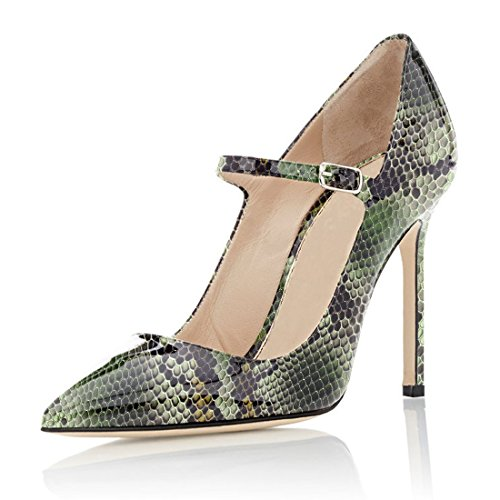 Soireelady Damen Mary Jane Pumps | 10cm high heels stiletto Pumps | Elegante High Heels Python-Grün EU41 Python Stiletto Pumps