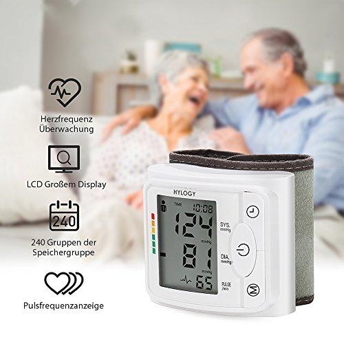 Blutdruckmessgerät Handgelenk Hylogy Vollautomatische professionelle Blutdruk-und Pulsmessung 2*120 Speicherplätze, LCD großem Display und Tagbare Aufbewahrungsbox - 2
