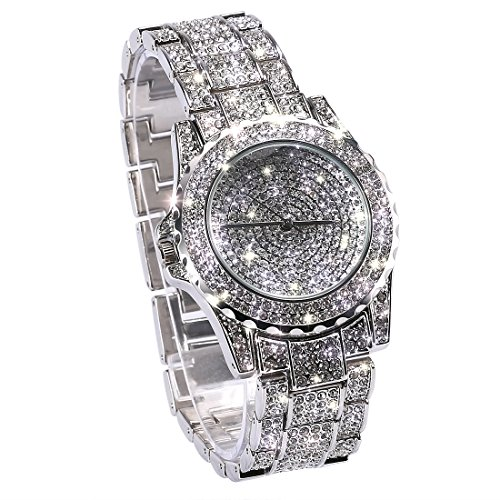 Luxus voller Diamant Damenuhr Strass Edelstahl Band Armband Armbanduhr