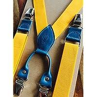 Hosenträger für Herren, Gelb/Blau, 100% Handarbeit; Echtlederelemente