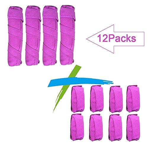 WPQES dormir le style bigoudi, 12 ordinateurs les bigoudis, éponge de rouleaux (rose red 4 L + 8 M)