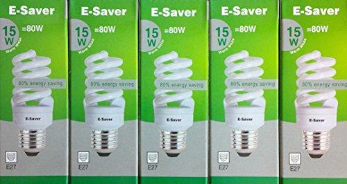 Kompaktleuchtstofflampen/Energiesparlampen, 3/5/10Stück, 15W = 80Watt, warm-weiß, Vollspirale, Bajonettsockel BC B22d, warmweiß, E27 15.0 wattsW 240.00 voltsV Soft White Christmas Lights